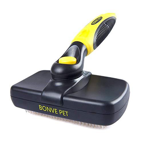 Bonve Pet Hundebürste, Selbstreinigende Bürste| Katzenbürste| Unterfellbürste, Schnelle Reinigung...