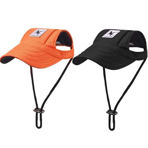 2 x Hunde-Baseballkappen, verstellbar, für Outdoor-Sport, Hundehut, Sonnenhüte mit Ohrlöchern,...