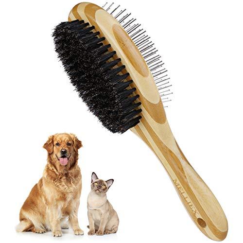 MELLIEX Katzenbürste Hundebürste, Wildschweinborsten & Nadelbürste Doppelbürste Haustierbürste Kamm...