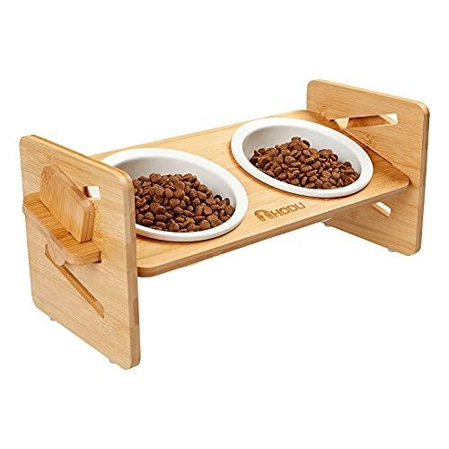 HODU Premium Futternapf für Katzen & kleine Hunde - Höhenverstellbar - mit 4 x Rutschfesten Silikonen -...