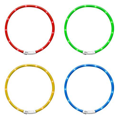 DbKW LED Halsband für Hunde mit KfZ Micro USB Adapter, kürzbar und wiederaufladbar, 3 Leucht-Modis....