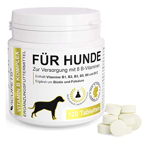 Vicupets® Vitamin B Komplex für Hunde | 8 B-Vitamine, B12, Biotin und Mineralstoffe | für alte...