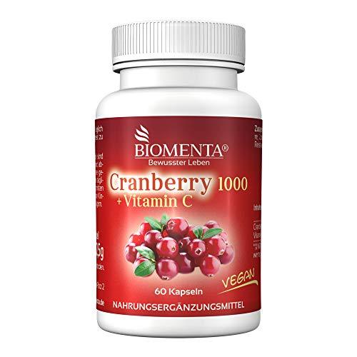 BIOMENTA Cranberry 1000 + Vitamin C – mit 1.000 mg Cranberry Extrakt + 500 mg Vitamin C pro Tag –...