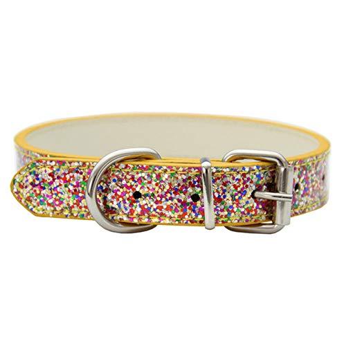 WEIYYY Puppy Cat Collars Verstellbares Leder-Leuchthalsband für kleine mittelgroße Hunde Cats Pet...