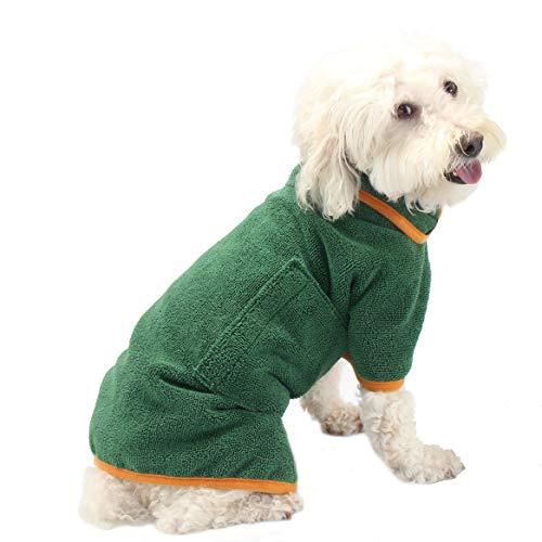 PETTOM Hundebademantel Mikrofaser für Kleine Mittlere und Große Hunde Badetuch Hund, L
