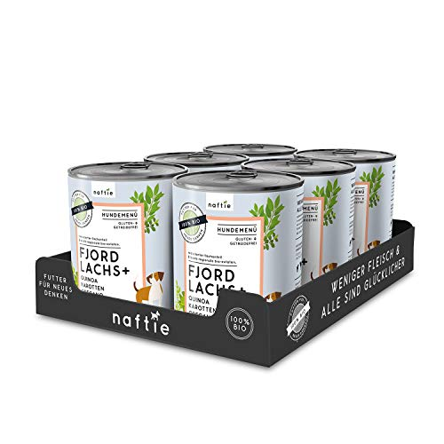 naftie Bio Hundefutter Fjord Lachs+ | Premium Nassfutter Menü mit Lachs-Fisch, Quinoa, Karotten &...