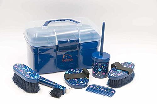 AMKA Pferde Putzbox mit Sternen Putzkasten Putzkoffer gefüllt für Kinder 6 teilig in dunkelblau