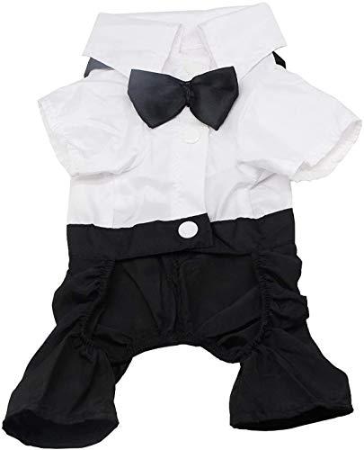 QiCheng & LYS Hund Kleidung Haustier stilvolle Anzug Fliege Kostüm, Hochzeit Shirt formalen Smoking mit...