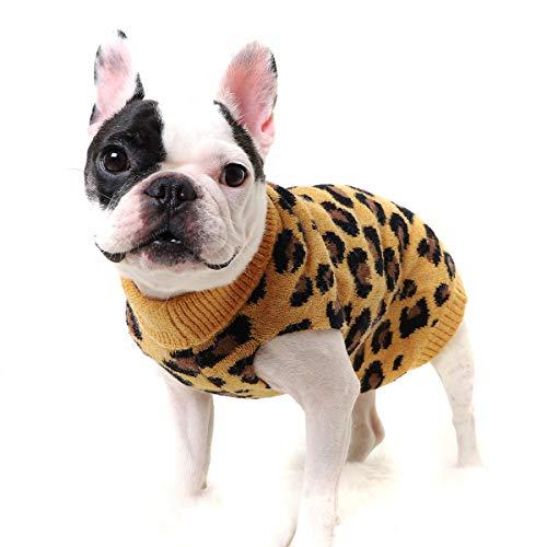 Petyoung Hund Pullover Haustier Winter Strickwaren Leopard Muster Welpen Warme Kleidung Geeignet für...