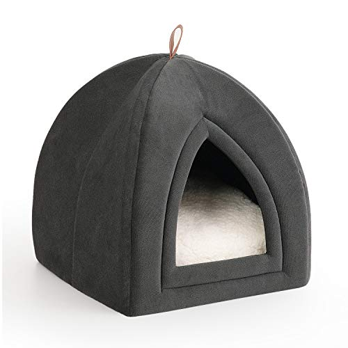 Bedsure Katzenhöhle Katzenbett mit Super Weichem Flauschigem Sherpa Innerkissen (Abwaschbar) L35cm x...