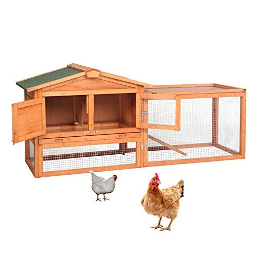 KUANDARGG Kleintier-Stall Draußen Hühnerstall Mit Auslauf, Hühnerhaus Klein, Hühnervoliere Holz,...