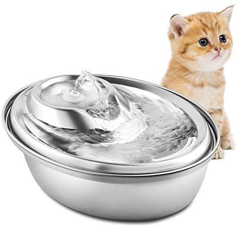 PUPPY KITTY Trinkbrunnen aus Edelstahl für Katzen und Hunde, 2L Ultra-Leise Automatischer Katze...