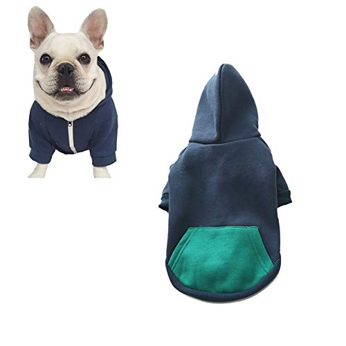 meioro Hunde Kapuzenpullis Warm Hundebekleidung Reißverschluss Hundekleidung Nette Haustier Hoodies (M,...