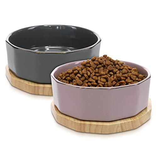Navaris Fressnapf Futternapf Set aus Keramik - 2X Hundenapf Katzennapf Futterschale mit Unterlage aus...