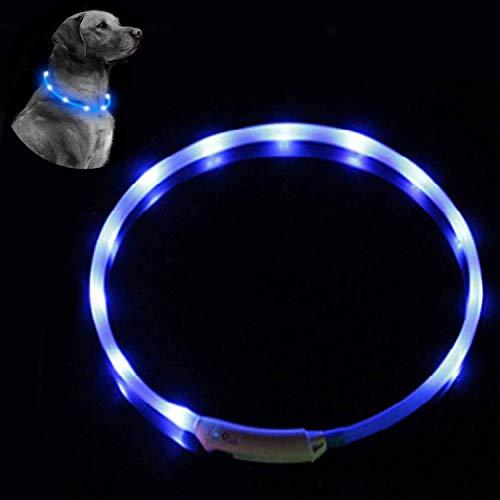 Hundehalsband,Leuchthalsband Hund,Leuchtend Halsband Hund USB wiederaufladbar,LED hundehalsband...