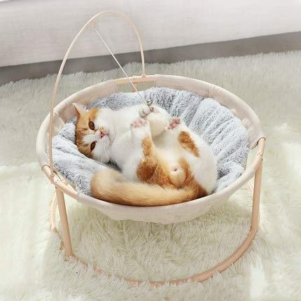HOOPET Katze Liegestuhl Liegemulde  weiches Kanichenfell Katze Bett Sofa   mit Spielball, Katzenminze...