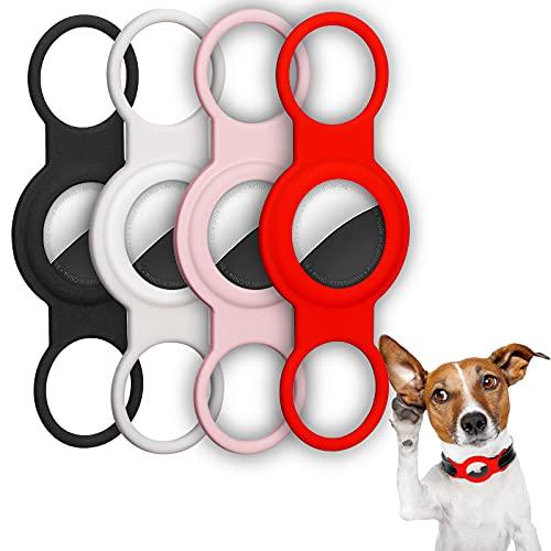 Huarumei Hülle Kompatibel mit Apple Airtag, 4 Stück Silikon Schutzhülle Airtags Halsband Gps Tracker...