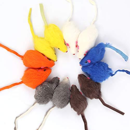Bluelves Katzenspielzeug Maus, Spielzeugmäuse mit Glocke,12 Stück Maus Katzenminze, Spielzeug Katze...
