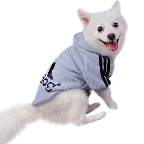 Eastlion Adidog Hund Pullover Welpen-T-Shirt Warm Pullover Mantel Pet Kleidung Bekleidung, Grau, Gr. XXL