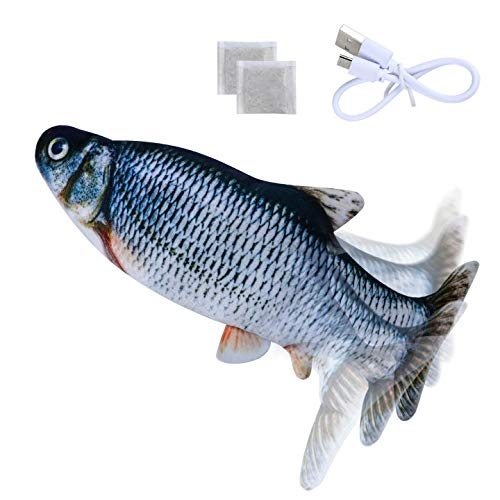 Morfone Katzenspielzeug Elektrischer Fisch, 2 * Katzenminze, mit USB-Ladung Schwingender Spielzeugfisch,...