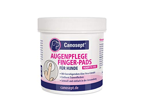 Canosept Augenpflege Finger-Pads für Hunde 100 Stück - Mit beruhigendem Aloe Vera Extrakt - Fingerlinge...