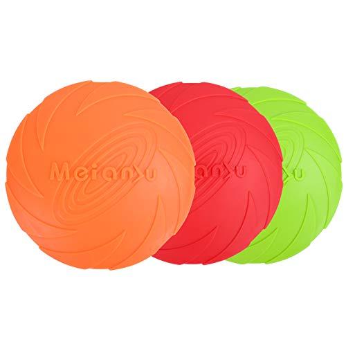 KATELUO 3 Stück Hunde Frisbees, Gummi Frisbee, Hunde Disc, Hundespielzeug Frisbee, Perfekt Frisbee...