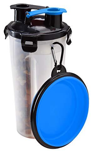Pullach Hof Hundenapf Reiseflasche Wassernapf Futter Wasser Transportbehälter 2in1 Fressnapf für Hunde...