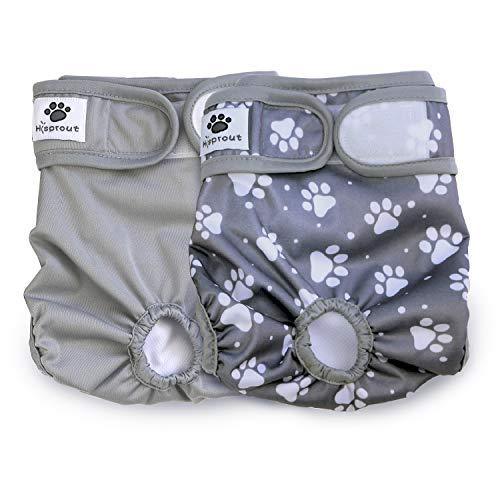 Hisprout weiblich Hund Windel wiederverwendbar waschbar Langlebig Hund Windeln Hose,Grau Footprints,M
