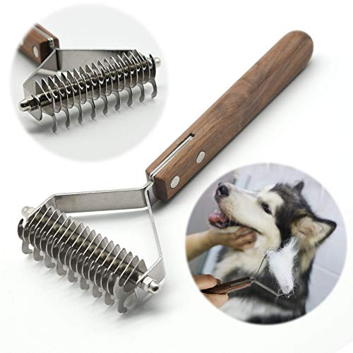 onebarleycorn – Premium Hundebürste und Katzenbürste Fellpflege,17+9 doppelseitige Zähne, Entfernt...