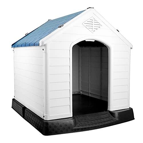 Wetterfeste Kunststoff Hundehütte, Hundehaus für Outdoor Drinnen mit Erhöhte Boden, Einfach zu...