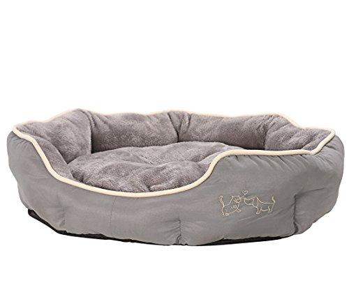 Dehner Hunde- und Katzenbett Sammy, oval, ca. 90 x 80 x 14 cm, Polyester, grau