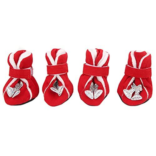 ZheHanWUFB Hundeschuhe und -stiefel, für kleine und mittelgroße Hunde, Rot, 4 Stück
