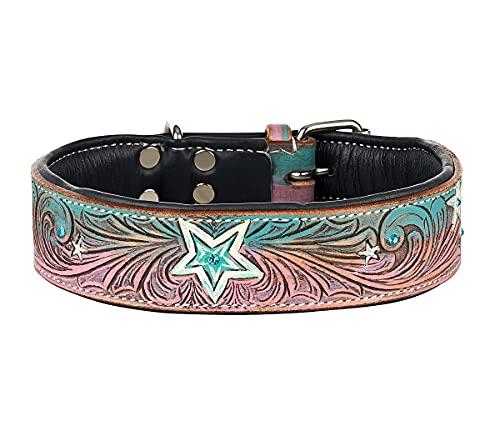 MICHUR Stardust Hundehalsband Leder, Lederhalsband Hund, Halsband, Leder, Stern Muster, Braun Grau Pink...