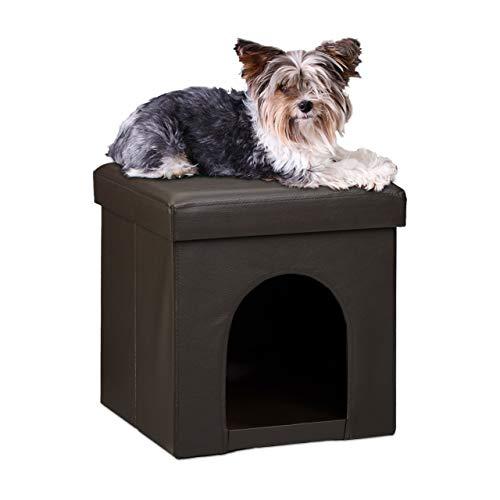 Relaxdays Hundebox Sitzhocker HBT 38 x 38 x 38 cm stabiler Sitzcube mit praktischer Tierhöhle für Hunde...