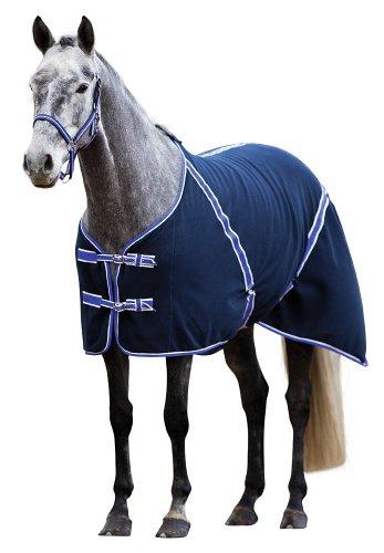 Kerbl 323636 Fleece-Pferdedecke Classic, 135 cm, schwarzblau / flieder eingefasst