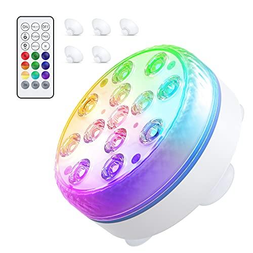 Smarich Unterwasser LED Licht, Poolbeleuchtung mit RF-Fernbedienung, IP68 Wasserdichtes Pool...