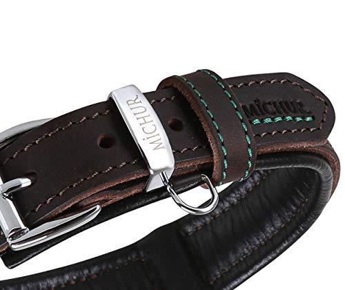 MICHUR Oleo Hundehalsband Leder, Lederhalsband Hund, Halsband, Braun, Leder, in verschiedenen Größen...