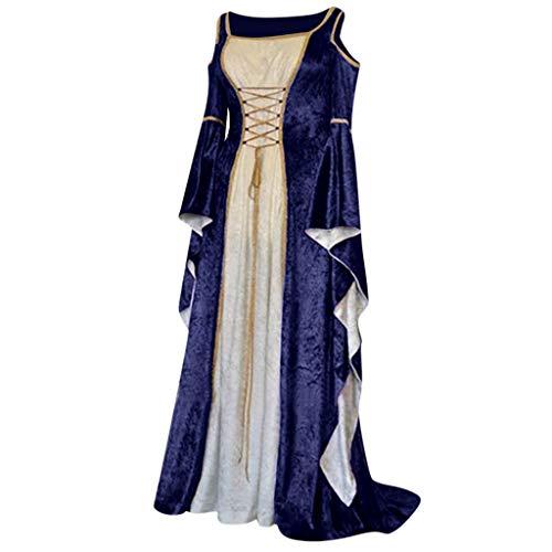 NHNKB Mittelalter Kleidung Damen Renaissance Samt Kleid Corsage Kostüm für Halloween Fasching Karneval...