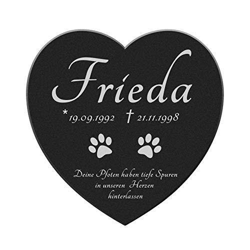 kultdog Marmor Herz Gedenkstein - Tiergrabstein mit Gravur - Grabschmuck Hund, Katze & andere Tiere -...