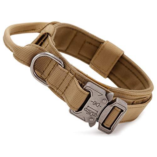 Huntvptaktisch Hundehalsband Verstellbar mit Kontrollgriff, aus Nylon, gepolstert, Metallschnalle, für...