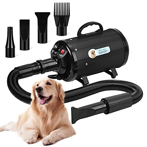 XKISS Hundetrockner 3,2 PS / 2800 W Stufenloser Hundetrockner mit Einstellbarer Geschwindigkeit (Black)