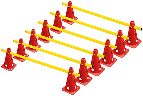RHINOS sports Steckhürdenset, 12 Multifunktionskegel (22,5 cm) inkl. 6 Trainingsstangen (1 m)
