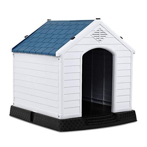 COSTWAY Hundehütte Kunststoff Hundehaus Plastik für Garten, Drinnen und Draußen, Hundehöhle mit...