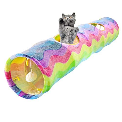 VICTORIE Katzentunnel Hundetunnel Katzenspielzeug zusammenklappbar Interaktiver Spielzeug Spiel Tunnel...