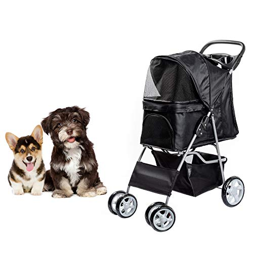 Dawoo Rädern Haustier Trolley Für Katzen/Hunde, Einfach Zu Falten Hundewagen, Mit Ablagekorb Und...