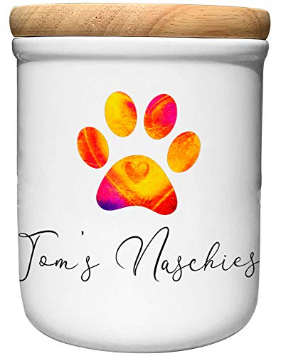 Cadouri Keramik Leckerli-Dose NASCHIES » personalisiert mit Name deines Hundes «┊Snackdose Keksdose...