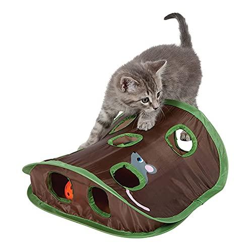 YUEKUN Katzenspielzeug, 9 Löcher, interaktives Mäuse-Jagd mit Glockenball von Kätzchen,...