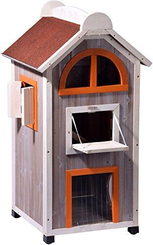 dobar 55018FSC Großes Katzenhaus 'Fancy Cat' aus Holz für draußen/drinnen, Katzenturm mit 6 Öffnungen...