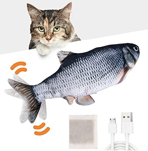 Huarumei Flipity Fish Katzenspielzeug Elektrisch Fisch, Katze Spielsachen Fisch USB mit Katzenminze,...