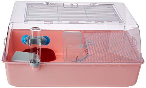 Ferplast 57075499W3 Nagerheim Mini Duna Hamster mit Zubehör, Maße: 55 x 39 x 27 cm, rosa Unterschale